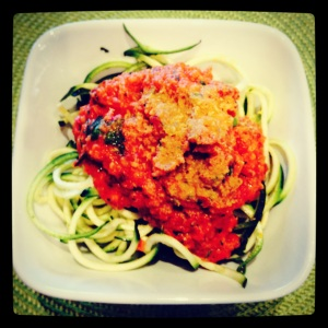 Zucchini Pasta with Marinara Sauce and Raw Parmesan