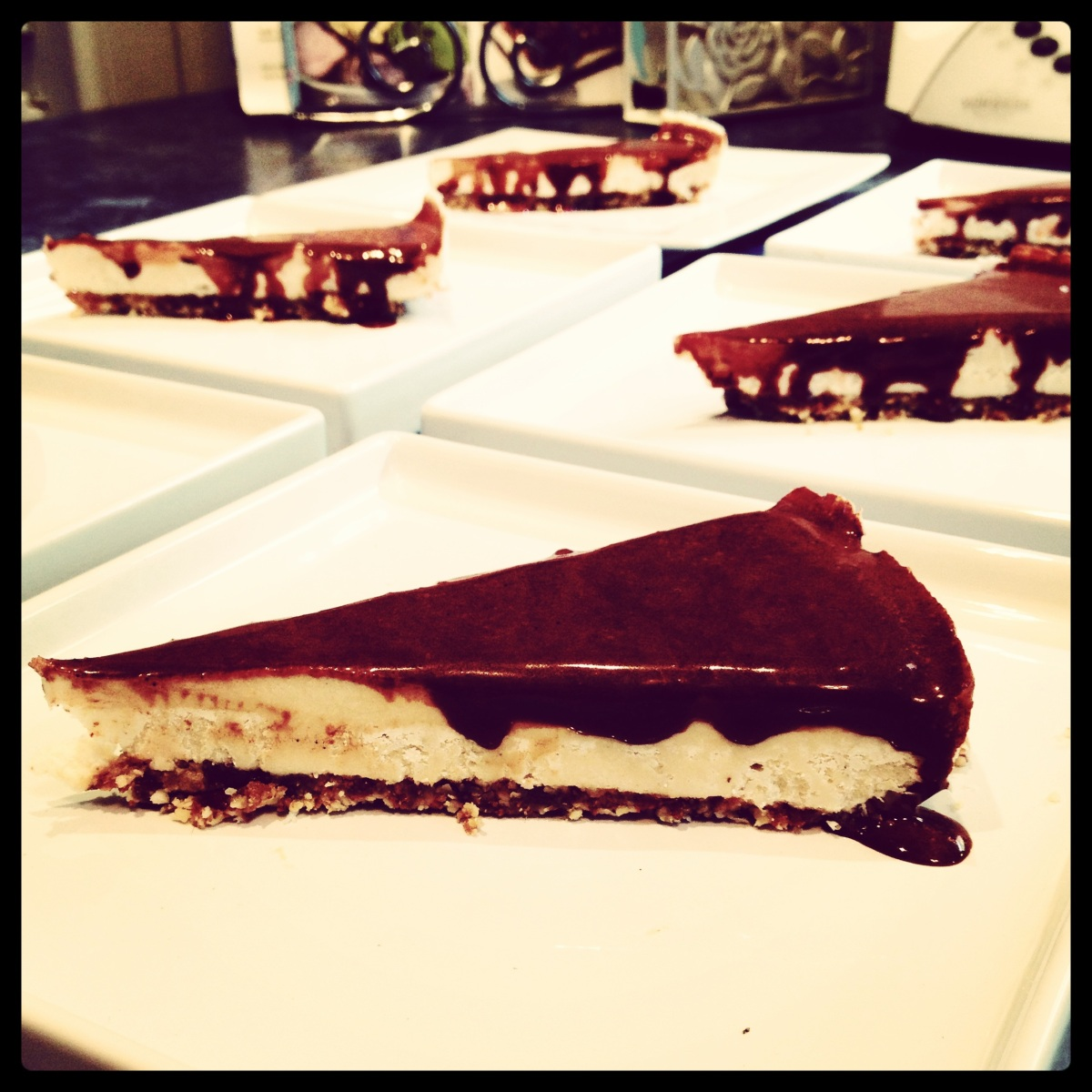 New York Cheesecake with Chocolate Ganache Sauce